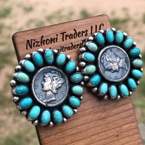 Paul Livingston Turquoise Liberty Dime earrings